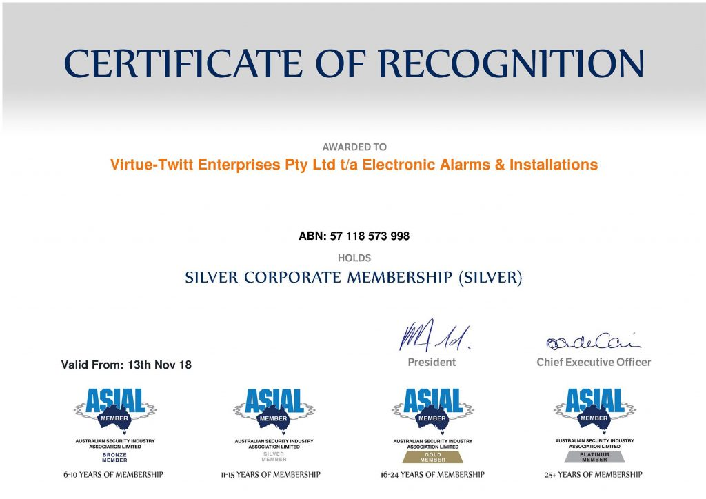 ASIAL Certificate of Recognition - Electronic Alarms and Installations