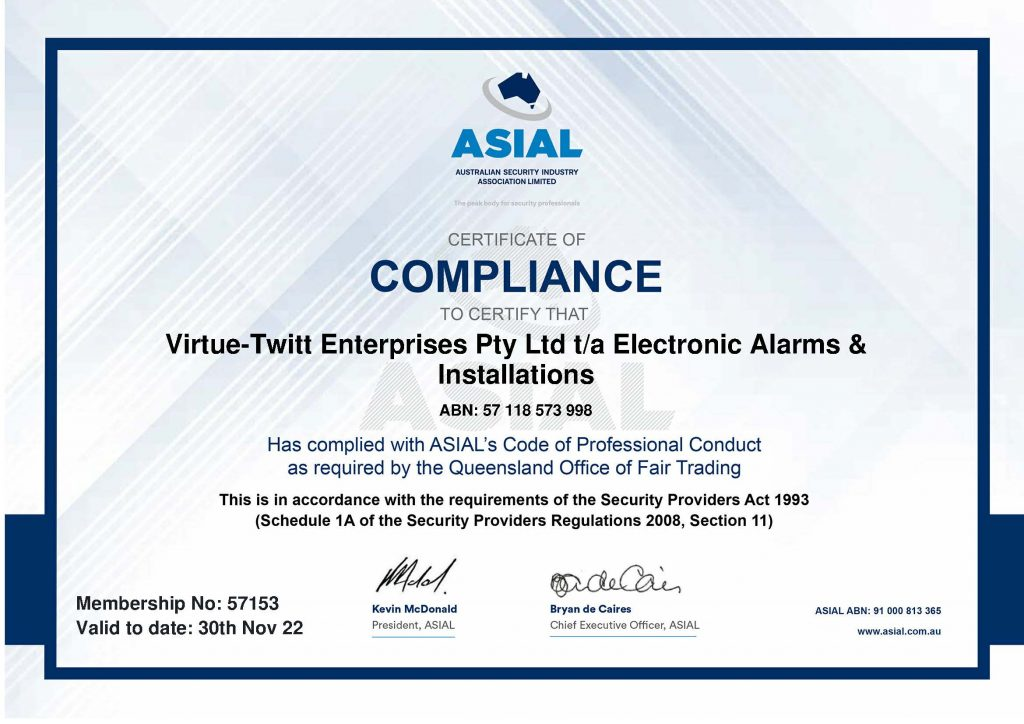 ASIAL Compliance Certificate - Electronic Alarms and Installations